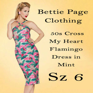Sz 6 Bettie Page Flamingo Dress
